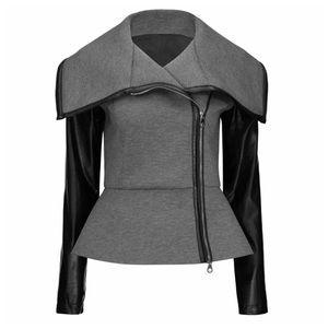 Jackets & Blazers - 🆕 Gray & Black Asymmetrical Vegan Leather Jacket